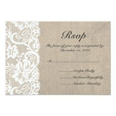 White Lace and Burlap Wedding RSVP Card Personalized Announcement