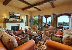 Tuscan Living Room With Upholstered Sofas