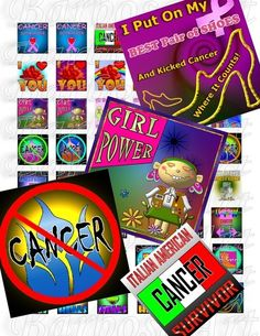 CANCER DESIGNS - Unique Jewelry Images - 1 x 1 inch squares | barbosaart - Craft Supplies on ArtFire