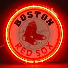 Boston Red Sox Logo Red Round Neon Bar Mancave Sign