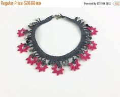 SALE 20% Crochet Necklace Crochet Flower Necklace , Gray and Pink Oya Lace Necklace Floral Jewelry, Unique crochet Jewelry, Boho Fabric Neck