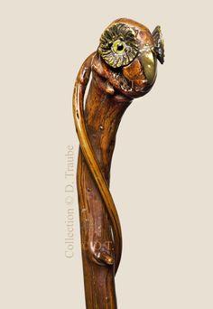 Canne Art Populaire fin XIXème siècle - Tête de hibou
