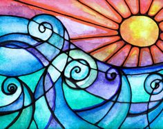 Surfs Up ondas sunset beach sunrise olas del por RobinMeadDesigns
