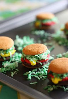 Boys will love making these Mini Burger Cookies as a fun snack! Click here to check out how to make them!