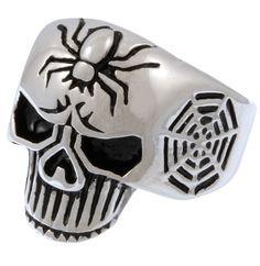 Stainless Steel Spider Web Skull Ring