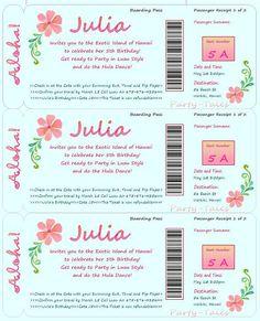 Boarding Pass invitation Luau Hawaiian Hula Girl by ShopPartyTales, $9.95