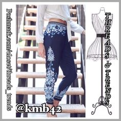 5 Rating Indigo Joggers Vintage print indigo joggers with side hidden pockets. Gorgeous pair of joggers for easy casual wear or dress them up for date night. Made of rayon. Sizes S Price is firm. No additional discounts Threads & Trends Pants Track Pants & Joggers