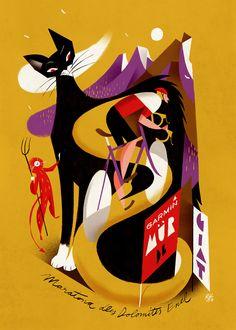 """Maratona dles Dolomites - Enel 2017. Riccardo """"Rik"""" Guasco (1975) - Garmin (2016). Illustratore e artista, Rik per i trent'anni della manifestazione, ha realizzato trenta tavole dedicate ai momenti più caratterizzanti della corsa: partenza, arrivo, passi, ciclisti, montagne, volontari, sponsor, alberi, nuvole, strade, folla, bici, entusiasmo, sole, fatica, ristori…"""