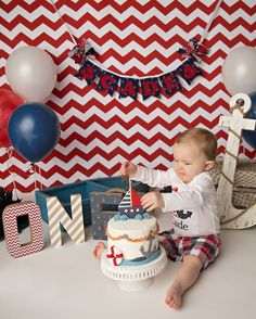 BANNER cumpleaños náutico / 1er cumpleaños infantiles niño 1er