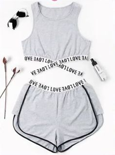 Summer Criss-Cross and Patch Letter Flat Elastic High Sleeveless Round Regular Active Casual and Sports Letter Patched Crossover Shorts Set - Cute outfits - Mode Teenage Outfits, Sporty Outfits, Teen Fashion Outfits, Mode Outfits, Outfits For Teens, Trendy Outfits, Summer Outfits, Girl Outfits, Womens Fashion