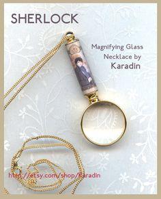 Sherlock Magnifying Glass Necklace on etsy