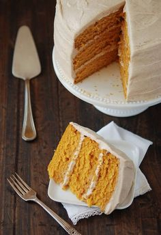 Pumpkin Dream Cake ~ coated in cinnamon maple-flavored cream cheese frosting   recipe from The Novice Chef