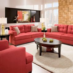 Red Couch Living Room Photos Small Ideas Apartment Therapy Bold Couches What A Statement Redcouch Statementcolor Angelika Microfiber Sofa Love Seat And Chair