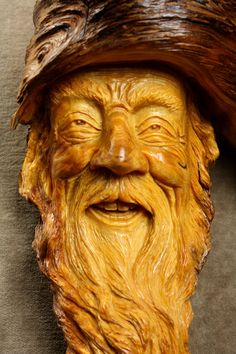 Wood Spirit Carving Christmas Art Gift Log by TreeWizWoodCarvings, $315.00