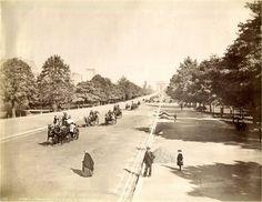 Belle perspective de l'avenue du Bois-de-Boulogne à Paris vers 1880 (devenue l'avenue Foch à partir de 1929).