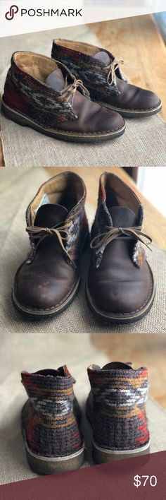 Clarks Woolrich Booties Shoes So sad these are not my size 😭 lovely little shoes, Woolrich wool blanket topped leather. Soles are dirty from being worn a handful of times but in great shape with lots of love left. Clarks Shoes Ankle Boots & Booties