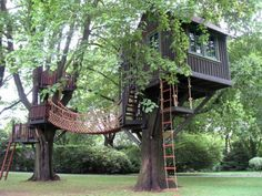 This is a larger treehouse with all the fun play areas features such as slides, rope swings, climbing walls, oh and that great rope bridge.