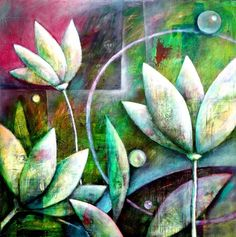Abstract flowers on canvas - abstrakte Blüten auf Leinwand