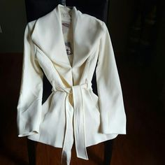 Forever 21 Contemporary  outerwear Cream jacket, soft fabric in inside, with waist strap. New! Forever 21 Jackets & Coats Pea Coats