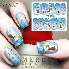 Water sticker for nails art decorations sliders merry Christmas snowman  stickers adhesive nail design all decals accessoires #Affiliate