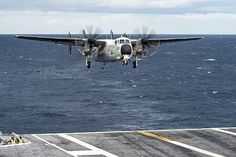 Greyhound assigned to the Rawhides of Fleet Logistics Support Squadron (VRC) 40 prepares to land on the flight deck of the aircraft carrier USS Dwight D. Eisenhower (CVN 69).