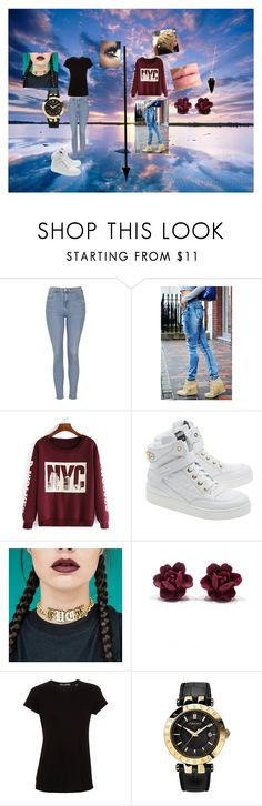 """""""Two different sides of me"""" by lauraissweetandawesome on Polyvore featuring Topshop, Moschino, Vince, Versace and Heather Hawkins"""