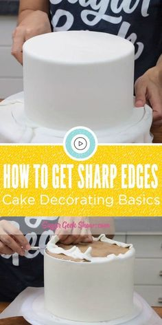 Cake Decorating Basics: How to get Sharp Edges - Creative Cake Decorating Ideen Creative Cake Decorating, Cake Decorating Techniques, Cake Decorating Tutorials, Creative Cakes, Cookie Decorating, Decorating Cakes, Cake Decorating With Fondant, Cake Icing Techniques, Decorating Ideas