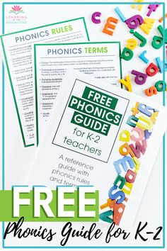 Do you ever get overwhelmed trying to keep up with all the terms and rules you need for phonics instruction? Wish you had one place with clear definitions for the foundational K-2 phonics terms and rules? This free guide for K-2 phonics terms and rules from Learning at the Primary Pond will give you just that. In this guide, you'll find clear definitions for over 25 phonics terms. Plus a list of rules for all those phonics quirks in the English language. Download for free! Free Teaching Resources, Teacher Resources, Teaching Ideas, Phonemic Awareness Activities, Phonics Lessons, Cvc Words, Teaching Writing, Word Families, Teaching Materials