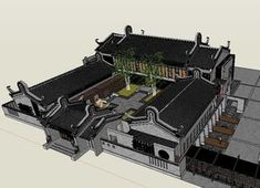 20 Kinds of Chinese Landscape Sketchup Models(Best Recommanded! Stairs Architecture, Amazing Architecture, Architecture Details, Residential Interior Design, Best Interior Design, Sketchup Models, Membrane Structure, Neoclassical Interior, Courtyard House Plans
