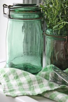 Green Glass Preserves Jars with a Green & White Gingham Cloth ....