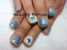 Blue Glitter and White Strips with White base and Blue Glitter Star Accent Nail