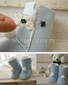 Free instructions to sew Baby UGGS! Baby UGGs are pretty easy to sew. Here& a great free tutorial with a simple but free pattern. Cool Baby, Kids Ugg Boots, Baby Boots, Babies First Christmas, Christmas Baby, Sewing For Kids, Baby Sewing, Sew Baby, Baby Uggs