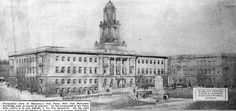 Perspective view of Barnsley's new Town Hall and Municipal buildings. Portland Stone, Local Studies, Barnsley, Local History, Town Hall, Northern Ireland, Museums, Perspective, Buildings