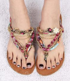 2014 New Colorful Hand-made Popular Flat Sandals these would be easy to make