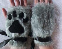 Cute Grey Furry Wolf Fox Dog Neko Cat Paw Print Faux Fake Fur Fingerless Gloves Wrist Warmers Halloween Costume Cosplay Festival