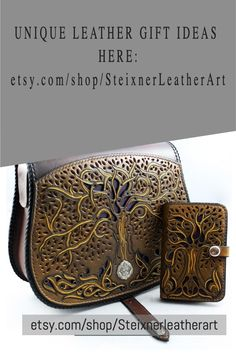 Tree of Life leather bag with matching wallet. 100% hand carved leather for luxury gift idea for mum and sister. Christmas gift idea for Her.  HandbagSize: 11.41 x 10.23 x 3.14 inch / 29 x 26 x 8 cmWeight: 845 gWalletSize: 3.54 x 5.51 x 0.78 inch / 9 x 14 x 2 cmWeight: 119 g   #leatherbag #leatherwallet