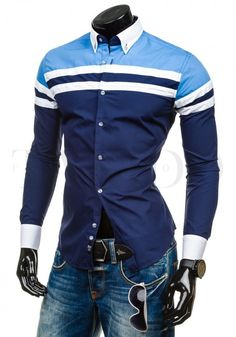 Pánská stylová košile - York, modrá s pruhem Motorcycle Jacket, Vogue, Shirt Dress, Fit, Casual, Mens Tops, Jackets, Shirts, Dresses