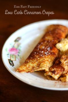 Low Carb cinnamon crepes can be eaten on an egg fast. One of my favorite breakfasts! From Lowcarb-ology.com