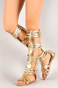 Dollhouse Empire Metallic Gladiator Flat Sandal