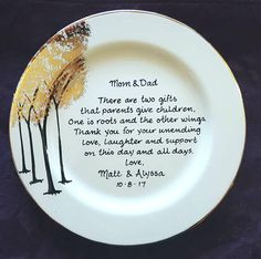 Wedding Gift Keepsake Plate for Parents With Either 22K Gold or Silver Accents. Thank you Mom and Dad, Thank you to Parents, Wedding Gift, Mother of the Bride Gift, Mother of the Groom Gift, Father of the Bride Gift, Father of the Groom Gift.  By Brush Stroke Plates