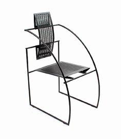 Zwart geëpoxeerd stalen stoel Quinta 605 met geperforeerd stalen zitting en rugleuning ontwerp Mario Botta 1985 uitvoering Alias / Italië