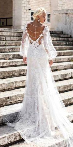 Pollardi Fashion Group: Daria Karlozi 2018 Wedding Dresses ❤️ daria karlozi 2018 straight lace backless low back long sleeve wedding dresses heady salvia ❤️ See more: http://www.weddingforward.com/daria-karlozi-2018-wedding-dresses/ #weddingforward #wedding #bride