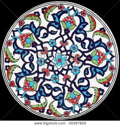 Turkish Mosaic Design Black Background Image - cg2p6387828c