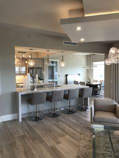 #Departamentos Open Plan Kitchen Living Room, Kitchen Room Design, Home Decor Kitchen, Modern Kitchen Interiors, Dream House Interior, Deco Design, Cuisines Design, My New Room, Modern House Design