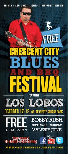 2014 CRESCENT CITY BLUES & BBQ FESTIVAL New Orleans Louisiana I'm heading to New Orleans tomorrow for this festival, which starts Friday October 17. More coverage to follow. Los Lobos, Bobby R... New Orleans Music, Lafayette Square, Joe Louis, New Orleans Louisiana, Crescent City, Jazz, Bbq, Foundation, Blues