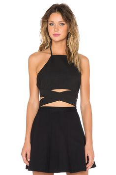 Lovers + Friends x REVOLVE Double Cross Crop Top in Black | REVOLVE