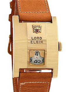 Lord Elgin Vintage Direct Read 14k Gold Filed Jump Hour