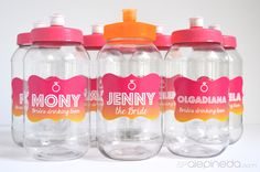 personalized plastic drink bottles bachelorette party, termos personalizados despedida de soltera