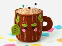 Positivity in Every Cup: Charming Works by Hannah Boulter Karla Gerard, Felt Embroidery, Art Textile, Old Clothes, Fun Cup, Felt Art, Felt Animals, Handmade Accessories, Felt Crafts