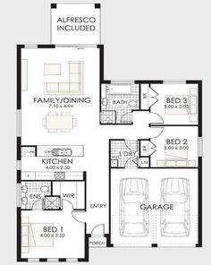 Plano de casa de un piso y tres dormitorios 001 Free House Plans, Family House Plans, Best House Plans, Small House Plans, 2 Bedroom Floor Plans, Modern House Floor Plans, Rawson Homes, Richmond Homes, Story House